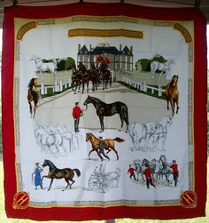 Hermes Les Haras Nationaux Vintage 1989-90 Red Trim Silk Scarf. One similar to this but with a navy blue border was the first in my collection . . . a gift.
