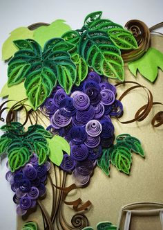 Handmade paper quilling  Sassy Wines made to order framed