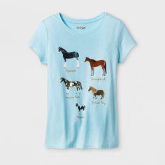 Girls' Short Sleeve Horses Graphic T-Shirt - Cat & Jack Light Blue XL