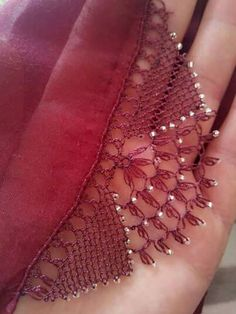 beautiful beaded oya Crochet Earrings Pattern, Knit Shoes, Needle Lace, Lace Making, Knitted Shawls, Knitting Socks, Crochet Lace, Hand Embroidery, Tatting