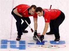 DAY 10:  Michael Goodfellow and Scott Andrews of Great Britain compete during the Curling Men's Round Robin Session 10 - Great Britain vs. Norway