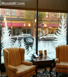 Wall and Window Mural Art in Victoria BC . Wand- und Fensterbilder in Victoria BC Wand- und Fensterbilder in Victoria BC - Home Cafe Window, Window Mural, Mural Wall Art, Christmas Window Display, Christmas Window Decorations, Christmas Store, Holiday Decor, Xmas, Bc Home