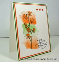 handmade sympathy card from Score at Four and a Quarter ... Happy Watercolor... color challenge of orange, mint green and white ... layout perfect for this stamp ... Stampin' Up!