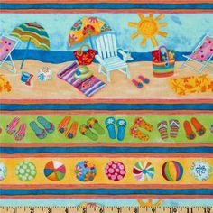 Timeless Treasures Flip Floppin Summer Fun Beach Border Stripe Multi