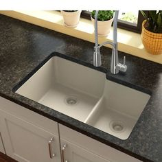 Elkay Quartz Classic 33 L x 21 W Double Basin Undermount Kitchen Sink with Aqua Divide Best Kitchen Sinks, Kitchen Sink Faucets, New Kitchen, Cool Kitchens, Kitchen Decor, Kitchen Ideas, Remodeled Kitchens, Kitchen Interior, Kitchen Counters