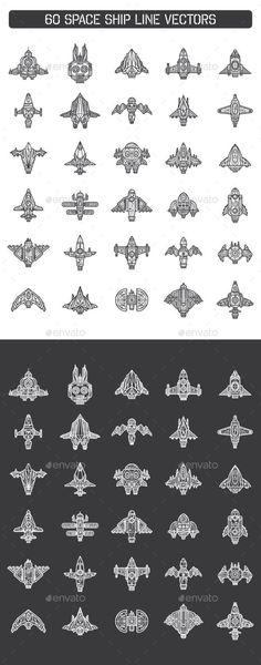 60 Space Ship Line Vectors