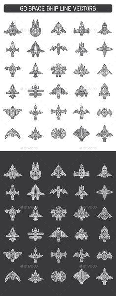 60 Space Ship Line Vectors