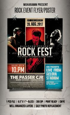 Buy Rock Event Flyer / Poster by muharamm on GraphicRiver. Rock Event flyer templates or poster templates designed to promote any kind of music event, concert, festival, party . Event Poster Design, Graphic Design Posters, Flyer Design, Event Design, Brochure Design Layouts, Photo Layouts, Flyer Poster, Cma Fest, Event Pictures