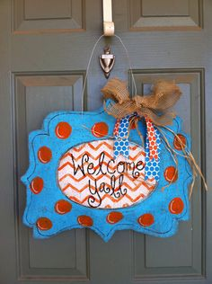 Summer blue and orange burlap door hanger via Etsy.