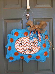 Summer blue and orange burlap door hanger via Etsy.