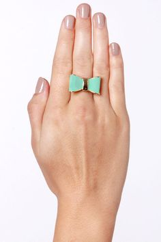 Cute Mint Ring - Bow Ring - Gold Ring - $11.00