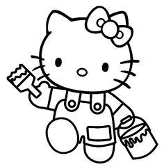 hello kitty | Coloriage hello kitty pot de peinture et pinceau à imprimer
