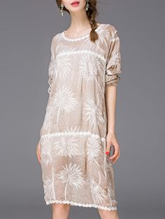 Apricot Crew Neck Embroidered Shift Dress