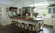 Happy Hollow: A Gambrel-Style House & Guest Cottage Kitchen Island Designs With Seating, Large Kitchen Island, Kitchen Islands, Kitchen Seating, Luxury Kitchens, Home Kitchens, Kitchens With Fireplaces, Cottage Kitchens, Rustic Kitchen