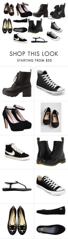 """Black shoes"" by mirielanarion on Polyvore featuring moda, Charlotte Russe, Converse, NIKE, Dr. Martens, GUESS, Charlotte Olympia i Melissa"