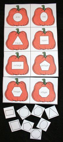 Pumpkin activities: FREE printable: Students place the shape tile on the pumpkin.  Also helps with shape word recognition.
