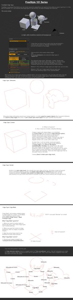 Blender Freestyle Edge Types https://studiollb.wordpress.com/2012/09/08/freestyle-101-edge-types/