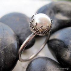 Pearl and Sterling Silver Ring Oh i so want this!!!