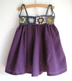 Granny square dress- use ribbon instead of sc chain for ties. Crochet Toddler, Crochet Girls, Crochet Baby Clothes, Crochet For Kids, Crochet Yoke, Crochet Fabric, Little Girl Dresses, Girls Dresses, Summer Dresses