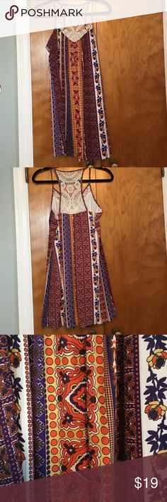 B Smart Patterned Dress Super cute boho style dress. Can be dressed up or down! 100% polyester with various patterns all over. Cute crochet design on razor back. Worn twice. In great shape! Size 5. Happy shopping! B Smart  Dresses Mini