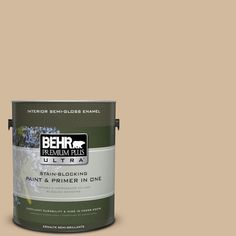 BEHR Premium Plus Ultra 1-gal. #S280-3 Practical Tan Semi-Gloss Enamel Interior Paint