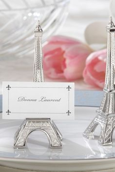 Evening in Paris Eiffel Tower Silver Finish Place Card Holder - Set of 12 ($15, on sale 38% off)