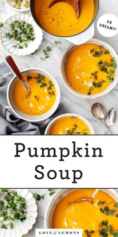 This creamy pumpkin soup recipe is perfect for fall! Made with roasted squash, coconut milk and curry spices, it's healthy, comforting and delicous. Vegan. Roast Pumpkin Soup, Creamy Pumpkin Soup, Canned Pumpkin, Pumpkin Puree, Coconut Curry Soup, Coconut Milk, Curry Spices, Roasted Squash, Le Chef