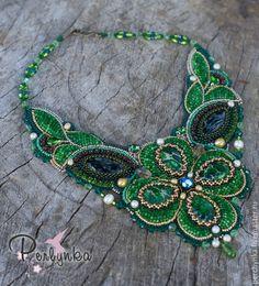 """Купить Колье """"На удачу"""" - зеленый, яркий аксессуар, яркое украшение, летнее украшение"""