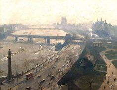 The Embankment, Westminster - painted 1934 Donald Chisholm Towner