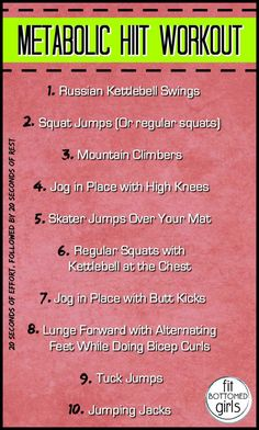 This metabolic HIIT workout will get your heart rate up, work all of your major muscle groups, and torch calories in a short amount of time.