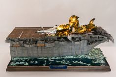 This is an amazing recreation of an actual event using a plastic model kit… Plastic Model Kits, Plastic Models, Garage Lighting, Military Diorama, Flight Deck, Aviation Art, Model Airplanes, Aircraft Carrier, Model Ships