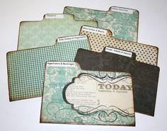 Divider Cards of Formica - Set of 6 Teal Blue Damask Custom 4x6 Recipe Divider Cards