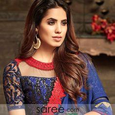 Blue Silk Saree With Resham Embroidery Blue Silk Saree, Silk Sarees, Blouse Designs Silk, Blouse Patterns, Lehenga Choli Online, Lace Border, Designer Sarees, Red Lace, Silk Fabric