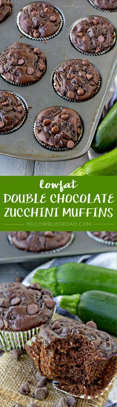 Lowfat Double Chocolate Zucchini Muffins - made healthier with Greek Yogurt and applesauce instead of oil or butter (Butter Substitute Yogurt)