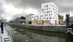 Construction d'un bâtiment mixte en bordure de canal à Molenbeekl. Bouw van een gemengd gebouw aan de rand van het kanaal in Molenbeek www.architecte.b612associates.com