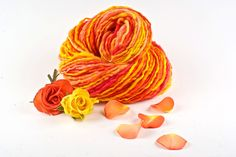 Handspun Yarn  Orange and Yellow Merino  Last of the by WoolWench