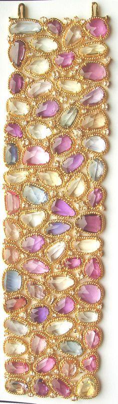 174.59ct Natural Multi Sapphire & 7.50ct Diamond 18K Bracelet