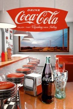 Coca Cola Retro Diner Poster with vintage bottle