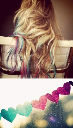 Rainbow hair- DIY temporary color. ashleecain
