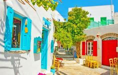 Beautiful stone made road with old traditional houses in Chora the capital of Amorgos island in Greece   10 of the Most Colorful Cities in the World