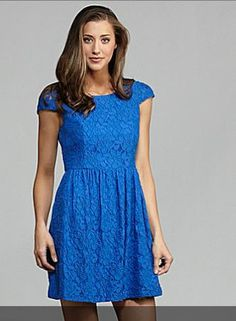 kensie blue lace fit and flare dress