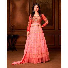 Rimi Sen Pink and Orange Net #Anarkali Suits With Dupatta- $41.20