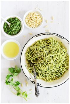 Spaghetti with Parsley/Cilantro Pesto l by fit, fun & delish!