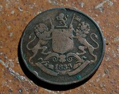 1833 British Indian quarter Anna Old coin by nancyplage on Etsy, £3.00