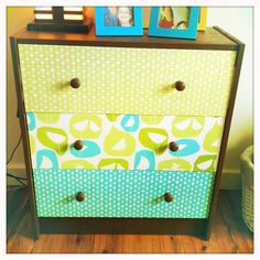 DIY an old dresser with coordinating fabric for a fun pop in the nursery or kids room!