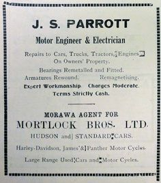 April 1942 advertisement for motor engineer and electrician J. S. Parrott of Morawa. He effected repairs to cars, trucks, tractors and engines and was an agent for Mortlock Bros Ltd through which he sold Hudson cars and Harley-Davidson motorcycles.