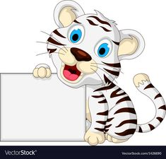 Cute baby white tiger posing with blank sign vector image on VectorStock Baby White Tiger, Powerpoint Background Templates, Baby Birthday Themes, Owl Classroom, Blank Sign, Disney Scrapbook Pages, Preschool Learning Activities, Tiger Cubs, Tiger Tiger