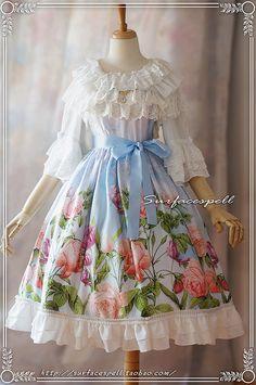 Au nom de la Rose*複古手繪玫瑰印花JSK*表面咒語Lolita*15夏-淘寶台灣,萬能的淘寶