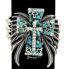 Bracelet Western Cross TURQUOISE Stretch Women Cowgirl Bling Rhinestone Wings #BHW #Beaded