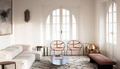 House tour: a classical apartment is given a minimalist makeover: Some of Lopez's furniture for Living Divani is also featured like the 'Track' bench and the 'Starsky' wooden side tables.